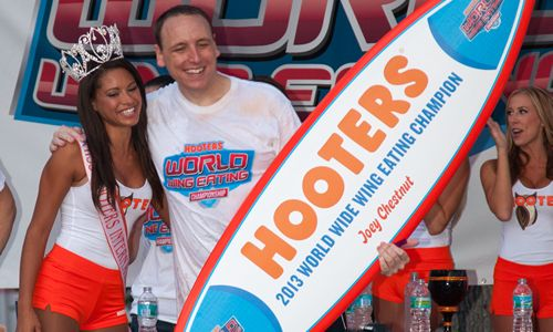 Joey Chestnut Claims Victory as Hooters World Wing-Eating Champion