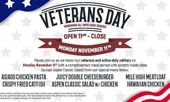 Aspen Creek Grill Honors Both Active-Duty and Veterans on Monday, November 11th with a Complimentary Meal