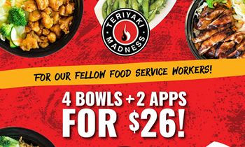"""Teriyaki Madness Introduces New """"Four-Top"""" Combo Meals for Hospitality Workers"""