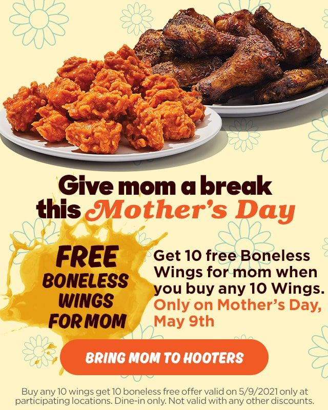 Celebrate Mom with Free Wings at Hooters for Mother's Day