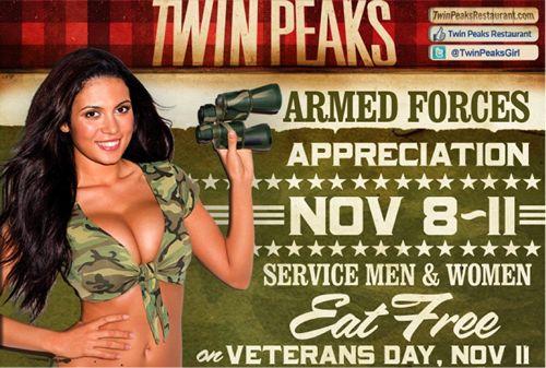 Twin Peaks Celebrates Veterans Day November 11
