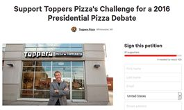 """Toppers Pizza Challenges Corporate Pizza Chains to """"Presidential Pizza Debate"""""""