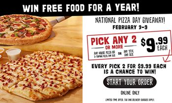 Toppers Pizza Celebrates National Pizza Day with Weeklong Contest to Win Free Food for a Year