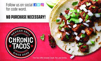 Chronic Tacos Celebrates National Taco Day with Free Tacos on Oct. 4